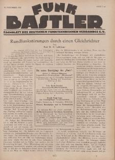 Funk Bastler : Fachblatt des Deutschen Funktechnischen Verbandes E.V., 18. November 1927, Heft 47.