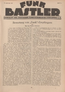 Funk Bastler : Fachblatt des Deutschen Funktechnischen Verbandes E.V., 25. Januar 1929, Heft 4.