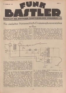 Funk Bastler : Fachblatt des Deutschen Funktechnischen Verbandes E.V., 22. Februar 1929, Heft 8.