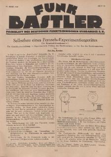 Funk Bastler : Fachblatt des Deutschen Funktechnischen Verbandes E.V., 15. März 1929, Heft 11.