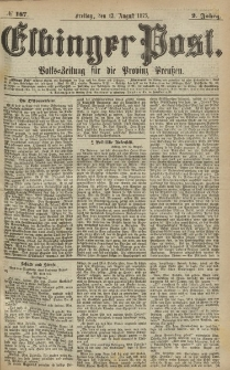 Elbinger Post, Nr.187 Freitag 13 August 1875, 2 Jh