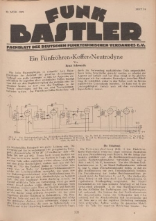 Funk Bastler : Fachblatt des Deutschen Funktechnischen Verbandes E.V., 12. April 1929, Heft 15.