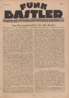 Funk Bastler : Fachblatt des Deutschen Funktechnischen Verbandes E.V., 26. April 1929, Heft 17.