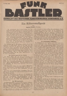 Funk Bastler : Fachblatt des Deutschen Funktechnischen Verbandes E.V., 31. Mai 1929, Heft 22.