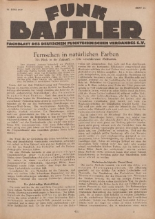 Funk Bastler : Fachblatt des Deutschen Funktechnischen Verbandes E.V., 28. Juni 1929, Heft 26.