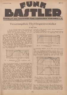Funk Bastler : Fachblatt des Deutschen Funktechnischen Verbandes E.V., 2. August 1929, Heft 31.