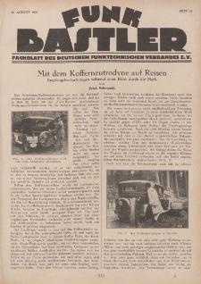 Funk Bastler : Fachblatt des Deutschen Funktechnischen Verbandes E.V., 16. August 1929, Heft 33.