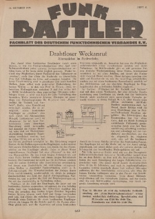 Funk Bastler : Fachblatt des Deutschen Funktechnischen Verbandes E.V., 11. Oktober 1929, Heft 41.