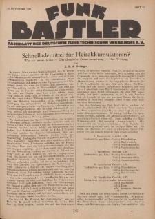 Funk Bastler : Fachblatt des Deutschen Funktechnischen Verbandes E.V., 22. November 1929, Heft 47.