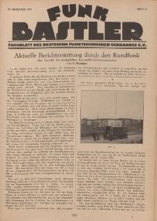 Funk Bastler : Fachblatt des Deutschen Funktechnischen Verbandes E.V., 20. Dezember 1929, Heft 51.
