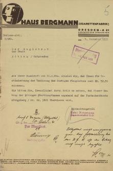 Haus Bergmann - Magistrat w Elblągu - korespondencja (4.11.1931 ; 25.11.1931)