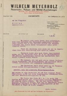 Pismo Firmy Wilhelm Meyerholz. Feuerwehr-Polizei-und Militär-Ausrüstungen Hannower do Straży Lotniczej w Elblągu - korespondencja (01.06.1934)