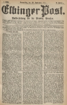 Elbinger Post, Nr.228 Donnerstag 30 September 1875, 2 Jh