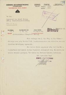 Siemens-Schuckertwerke A.G. Technisches Büro, Elbing - Magistrat der Stadt Elbing - korespondencja (9.11.1933 r.)