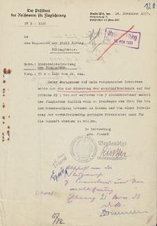 Der Präsident des Reichsamts für Flugsicherung, Berlin - Magistrat der Stadt Elbing - korespondencja (14.11.1933 r.)