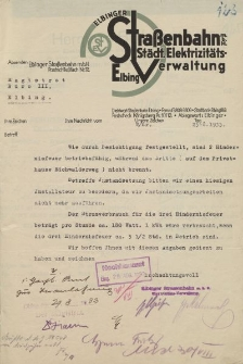 Elbinger Straβenbahn m.B.H. (Städt. Elektrizitäts-Verwaltung, Elbing) - Magistrat der Stadt Elbing (B.III.) - korespondencja (25.08.1933)