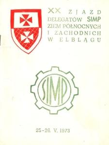 XX Zjazd Delegatów SIMP Ziem Północnych i Zachodnich w Elblągu - broszura