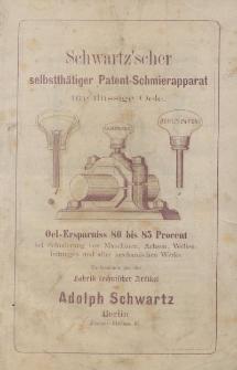 Schwartz'scher selbstthätiger Patent-Schmierapparat für flüssige Oele [broszura]