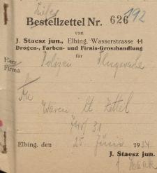 Firma J. Staesz jun., Elbing (rachunek nr 626)