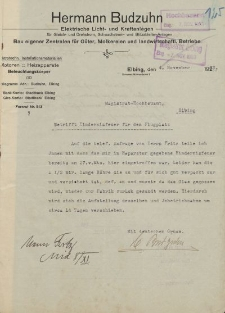 Firma Hermann Budzuhn. Elektrische Licht- und Kraftanlagen, Elbing - Magistrat der Stadt Elbing - korespondencja (04.11.1933 r.)