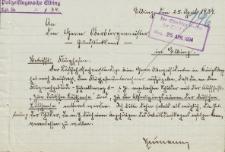 Polizeiflugwache Elbing - Oberbürgermeister Elbing - korespondencja (25.04.1934 r.)