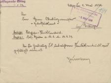 Polizeiflugwache Elbing - Oberbürgermeister Elbing - korespondencja (04.05.1934 r.)