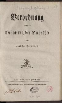 Verordnung wegen Bestrafung der Diebstähle und ähnlicher Verbrechen: De dato Berlin, den 26. Februar 1799