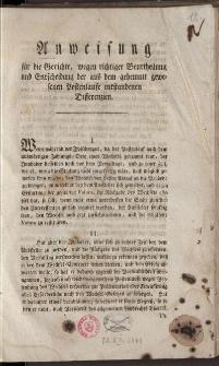Anweisung für die Gerichte wegen richtiger Beurteilung und Entscheidung der aus dem gehemmt gewesenen Postenlaufe entstandenen Differenzien, vom 15. Juni 1795.