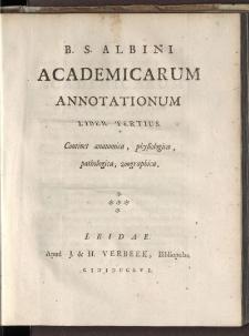 Academicae Annotationes... T. 3.