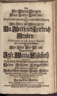 Das der Eltern Seegen [...] Hn. Gottfried Friedrich Gruben [...] Jgfr. Maria Elisabeth [...] Herrn Johann Langerfeldt […] Bernhard von Sanden […]