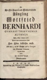 Als der Ehr-Jugend und Weissheit liebende Jüngling Gottfried Bernhardi [...]