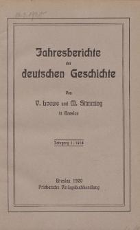 Jahresberichte der Deutschen Geschichte, Jahrgang 1 :1918