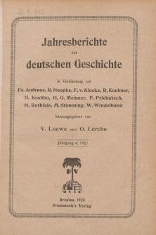 Jahresberichte der Deutschen Geschichte, Jahrgang 4 :1921