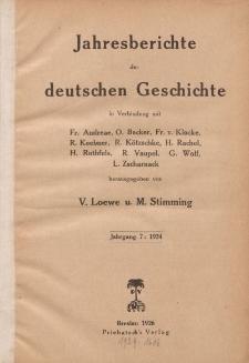 Jahresberichte der Deutschen Geschichte, Jahrgang 7 :1924