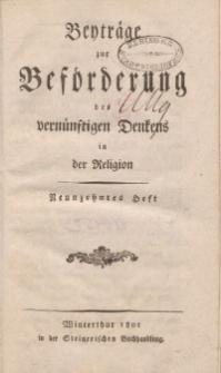 Beyträge zur Beförderung des vernünftigen Denkens in der Religion, Neunzehntes Heft