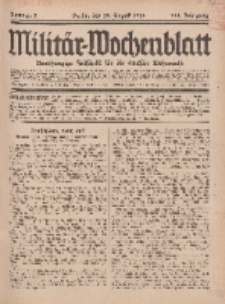 Militär-Wochenblatt : unabhängige Zeitschrift für die deutsche Wehrmacht, 111. Jahrgang, 18. August 1926, Nr 7.