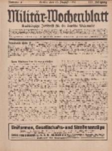 Militär-Wochenblatt : unabhängige Zeitschrift für die deutsche Wehrmacht, 111. Jahrgang, 25. August 1926, Nr 8.