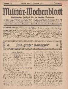 Militär-Wochenblatt : unabhängige Zeitschrift für die deutsche Wehrmacht, 111. Jahrgang, 11. Februar 1927, Nr 30.