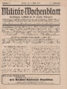 Militär-Wochenblatt : unabhängige Zeitschrift für die deutsche Wehrmacht, 111. Jahrgang, 4. April 1927, Nr 37.