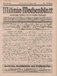 Militär-Wochenblatt : unabhängige Zeitschrift für die deutsche Wehrmacht, 111. Jahrgang, 25. April 1927, Nr 40.