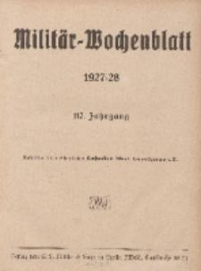 Militär-Wochenblatt : unabhängige Zeitschrift für die deutsche Wehrmacht (Inhaltsverzeichnis...) 111. Jahrgang, 1927/1928