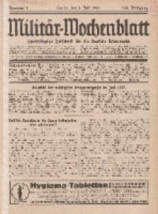 Militär-Wochenblatt : unabhängige Zeitschrift für die deutsche Wehrmacht, 112. Jahrgang, 4. Juli 1927, Nr 1.