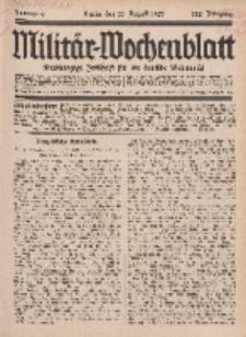 Militär-Wochenblatt : unabhängige Zeitschrift für die deutsche Wehrmacht, 112. Jahrgang, 11. August 1927, Nr 6.