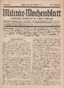 Militär-Wochenblatt : unabhängige Zeitschrift für die deutsche Wehrmacht, 112. Jahrgang, 18. August 1927, Nr 7.