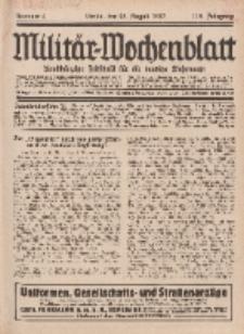 Militär-Wochenblatt : unabhängige Zeitschrift für die deutsche Wehrmacht, 112. Jahrgang, 25. August 1927, Nr 8.