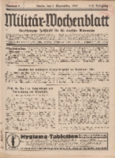 Militär-Wochenblatt : unabhängige Zeitschrift für die deutsche Wehrmacht, 112. Jahrgang, 4. September 1927, Nr 9.