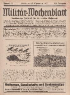 Militär-Wochenblatt : unabhängige Zeitschrift für die deutsche Wehrmacht, 112. Jahrgang, 25. September 1927, Nr 12.