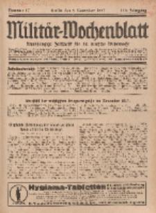 Militär-Wochenblatt : unabhängige Zeitschrift für die deutsche Wehrmacht, 112. Jahrgang, 4. November 1927, Nr 17.