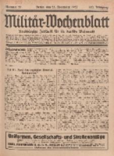 Militär-Wochenblatt : unabhängige Zeitschrift für die deutsche Wehrmacht, 112. Jahrgang, 25. November 1927, Nr 20.
