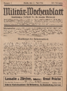 Militär-Wochenblatt : unabhängige Zeitschrift für die deutsche Wehrmacht, 113. Jahrgang, 11. Juli 1928, Nr 2.